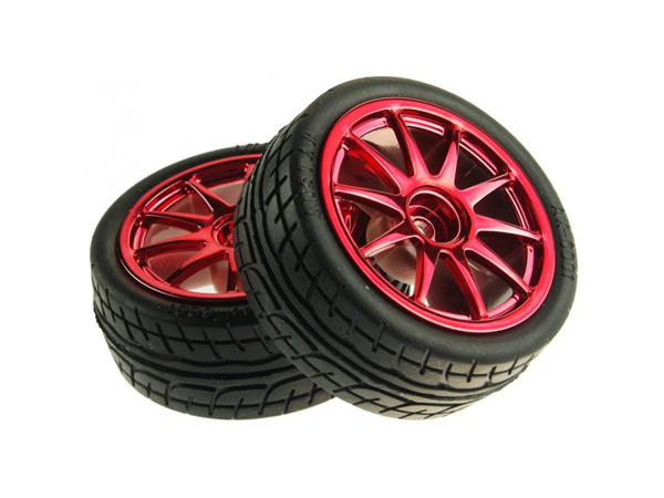 D65mm Rubber Wheel Pair - Red (without shaft)[FIT0199-R]