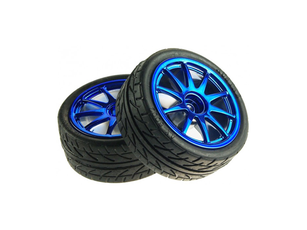 D65mm Rubber Wheel Pair - Blue (without shaft)[FIT0199-B]