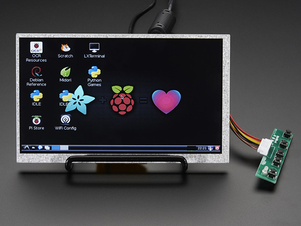 HDMI 4 Pi: 7' Display no Touchscreen 800x480 - HDMI/VGA/NTSC/PAL [ada-1934]