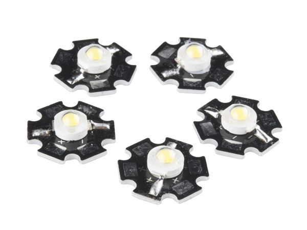 LED - 3W Aluminum PCB (5 Pack, Cool White) [COM-13105]