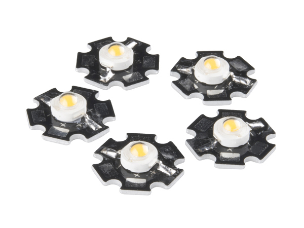 LED - 3W Aluminum PCB (5 Pack, Warm White) [COM-13104]