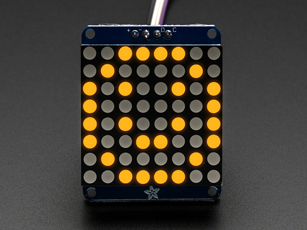 Adafruit Mini 8x8 LED Matrix w/I2C Backpack - Yellow [ada-871]
