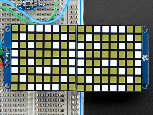 16x8 1.2' LED Matrix + Backpack - Ultra Bright Square White LEDs [ada-2044]