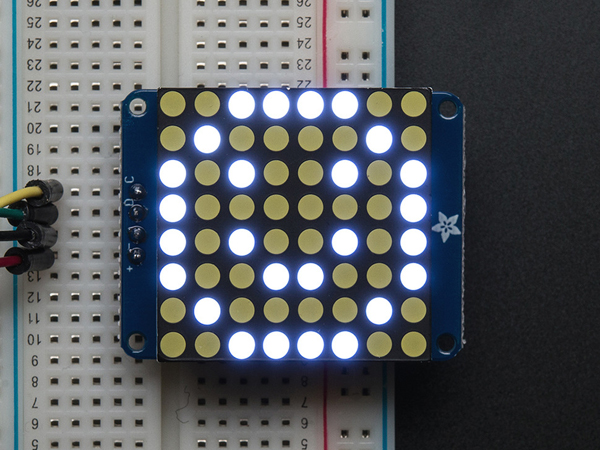 Small 1.2' 8x8 Ultra Bright White LED Matrix + Backpack  ada-1614]