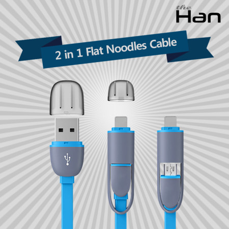 2 in 1 Flat Noodles Cable (핑크) [TCA-LMU1001_PK]