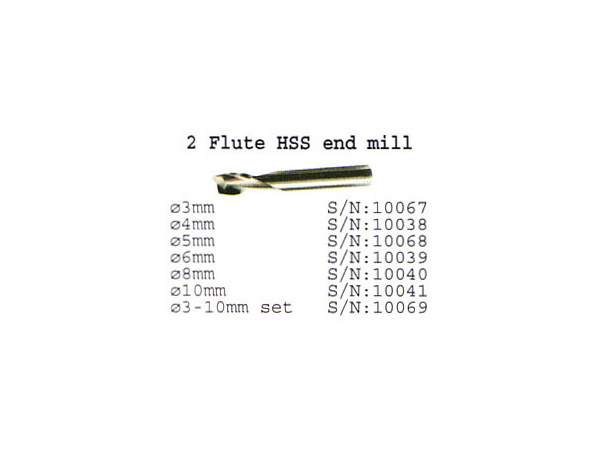 (10069)2 flute HSS end mill 6 pieces (3-10mm)