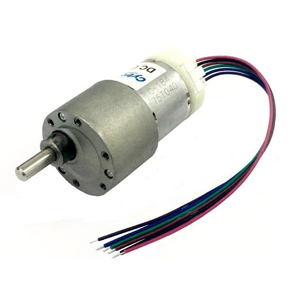 12V 225RPM 1.3kgfcm Brushed DC Geared Motor with Encoder