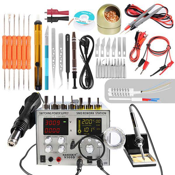 Handskit 9305D 4 in 1 Hot Air rework station + Soldering Iron Station + 30V 5A DC switching power supply + 5V DC 2A USB - 110V