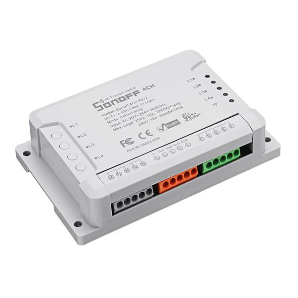 R2 SONOFF® 4CH 4 channel 10A 2200W 2.4Ghz smart home WIFI wireless remote control switch APP AC 90V-250V 50 / 60Hz Din rail home automation module