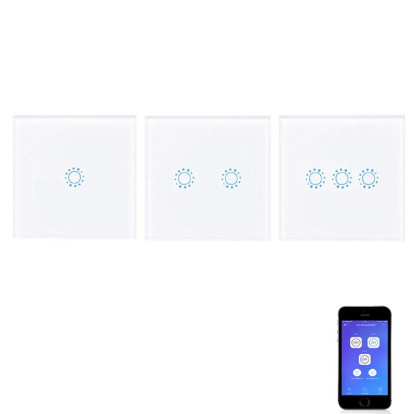 EU / UK 1/2/3 gang eWelink WIFI smart wall light switch touch panel remote control switch APP single live wire N Neutral wire switches - 3CH