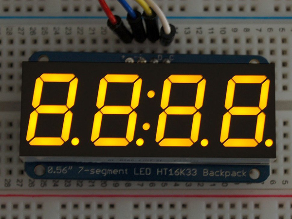 Adafruit 0.56' 4-Digit 7-Segment Display w/I2C Backpack - Yellow [ada-879]