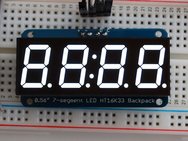 Adafruit 0.56' 4-Digit 7-Segment Display w/I2C Backpack - White [ada-1002]