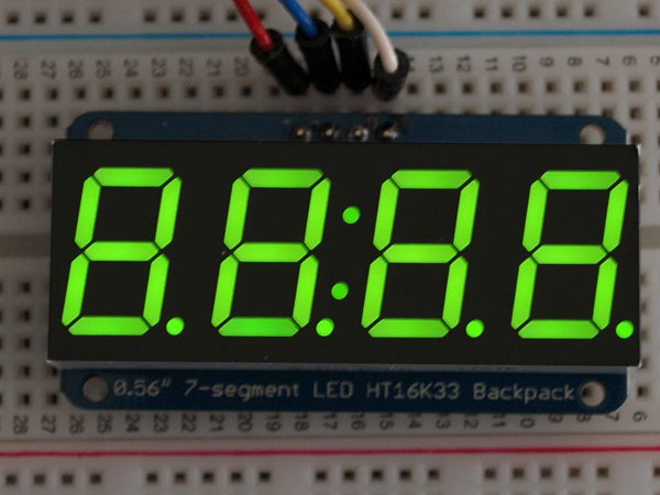 Adafruit 0.56' 4-Digit 7-Segment Display w/I2C Backpack - Green [ada-880]