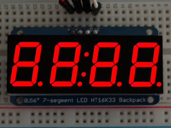 Adafruit 0.56' 4-Digit 7-Segment Display w/I2C Backpack - Red [ada-878]