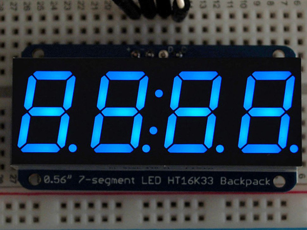 Adafruit 0.56' 4-Digit 7-Segment Display w/I2C Backpack - Blue [ada-881]