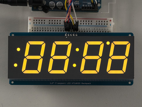 Adafruit 1 2' 4-Digit 7-Segment Display w/I2C Backpack - Yellow [ada