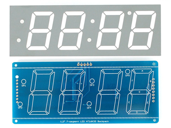 Adafruit 1 2' 4-Digit 7-Segment Display w/I2C Backpack - Green [ada