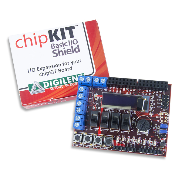 chipKIT Basic I/O Shield: Input/Output Expansion Add-on Board with OLED Display