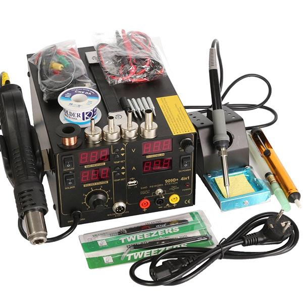 Saike 220V + 909D + rework soldering station hot air gun + DC power supply 3 in 1 Multi-function set (including the entire accessory)