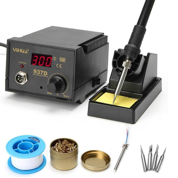 YIHUA 937D 220V 75W Digital Display Soldering Iron Station 4 Tip Lead Welding Tool Kit