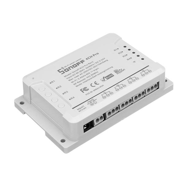 SONOFF® 4CH Pro R2 10A 2200W 2.4Ghz 433MHz RF person / self-locking / interlock smart home wireless switch module WIFI APP remote control AC 90V-250V / 5-24V DC a DIN rail mounted home automation module