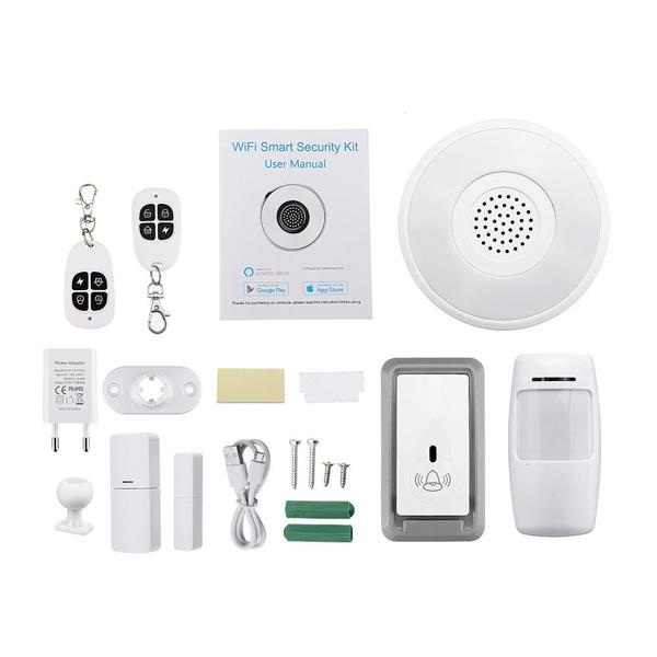 WIFI cloud Alexa smart home alarm kits Smart Life with Smart Tuya Gateway Gateway application control